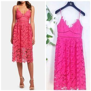 BARDOT New Pink Eyelet Cut out  A-line Dress SMALL